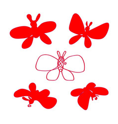 butterfly silhouette set red set the vector image