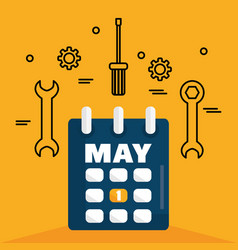 calendar reminder with wrench keys vector image
