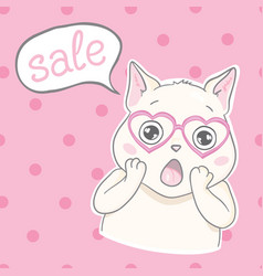 cartoon cat character and a sale text vector image