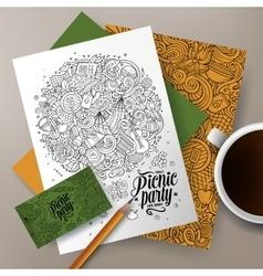 Cartoon doodles picnic corporate identity vector