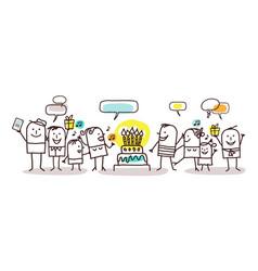cartoon people and happy birthday vector image
