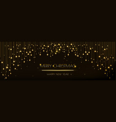 Christmas banner design with glittering golden vector