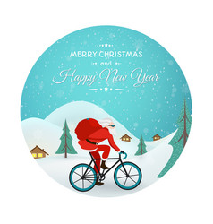 christmas new year santa claus bicycle delivery vector image