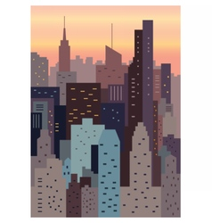 Cityscape on sunset geometric vector image