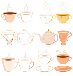Collection of hand drawn teacups saucer and vector