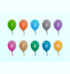 colorful balloon number set in round shape vector image