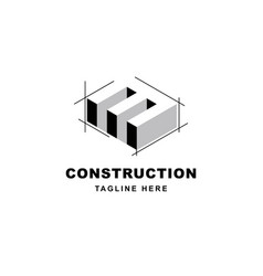 Construction logo design with letter m shape icon vector