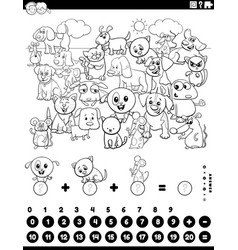 Counting and adding task with animals coloring vector