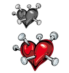 damaged heart with nails vector image
