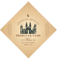 Diamond shaped wine label with old european town vector