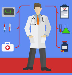 doctor with hands in white coat pockets and vector image