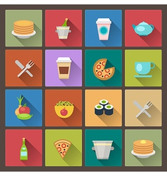 drink and food icons in flat design style vector image