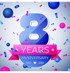 Eight years anniversary celebration on grey vector