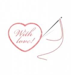 Embroidery with heart vector