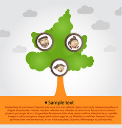 family tree with cartoon family faces vector image
