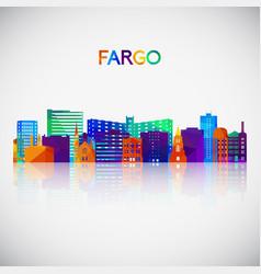 fargo skyline silhouette in colorful geometric vector image