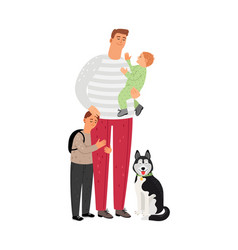 father with sons and dog vector image