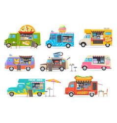 food trucks cartoon vans for street food selling vector image