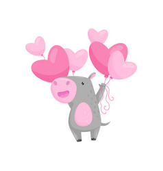 funny little hippo with bunch of pink heart-shaped vector image