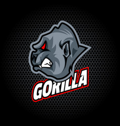 Gorilla head from side can be used for club or vector
