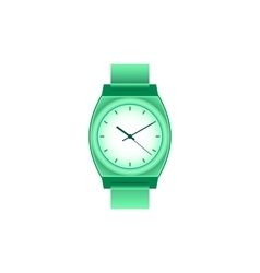 Green wrist watch on white field vector