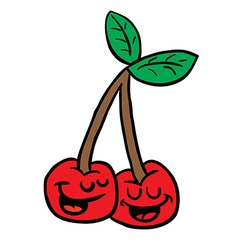 happy cherry vector image