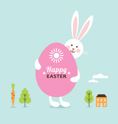 happy easter card easter bunny with big egg vector image