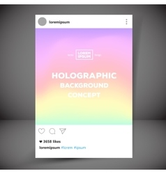 Holographic retro photo frame template with vector image