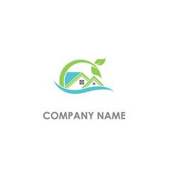 home nature eco leaf logo vector image