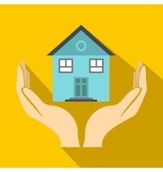 House in hands icon flat style vector image