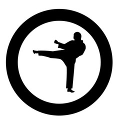 karate man icon black color in circle vector image