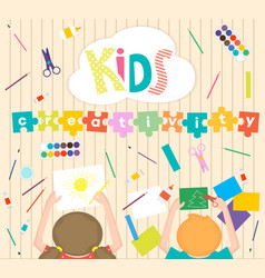 Kids art-working process background kids vector