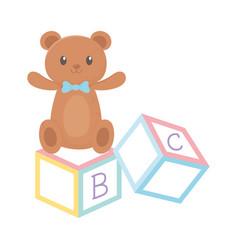 kids zone alphabet blocks teddy bear toys cartoon vector image