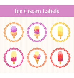 Labels with ice cream vector