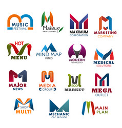 Letter m icons and symbols for business vector