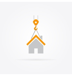 Logo combination of a crane and house vector