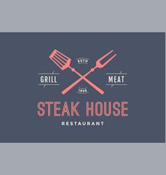 Logo of steak house vector