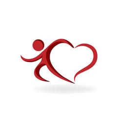 Love heart man icon vector