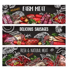 Meat and sausage banner template on chalkboard vector