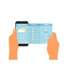 Mobile app for weather forecast vector image