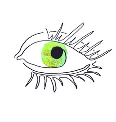 Modern poster with eye one line vector