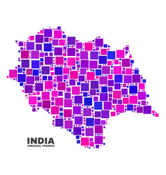 mosaic himachal pradesh state map of square vector image