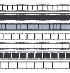 movie and photo tape film strip seamless borders vector image
