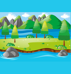 nature scene with river and mountains vector image