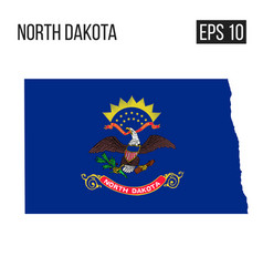 North dakota map border with flag eps10 vector