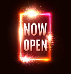 now open neon letters glow lights rectangle frame vector image