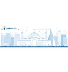 Outline Manama Skyline with Blue Buildings vector
