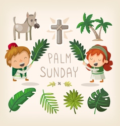 Palm Sunday design elements vector