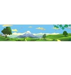 Panorama nature - mountains on horizon vector