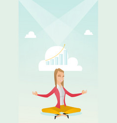 Peaceful business woman doing yoga vector